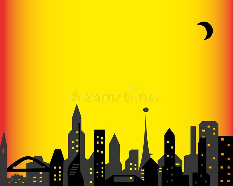 Glowing windows of a big city under the moon royalty free stock photography