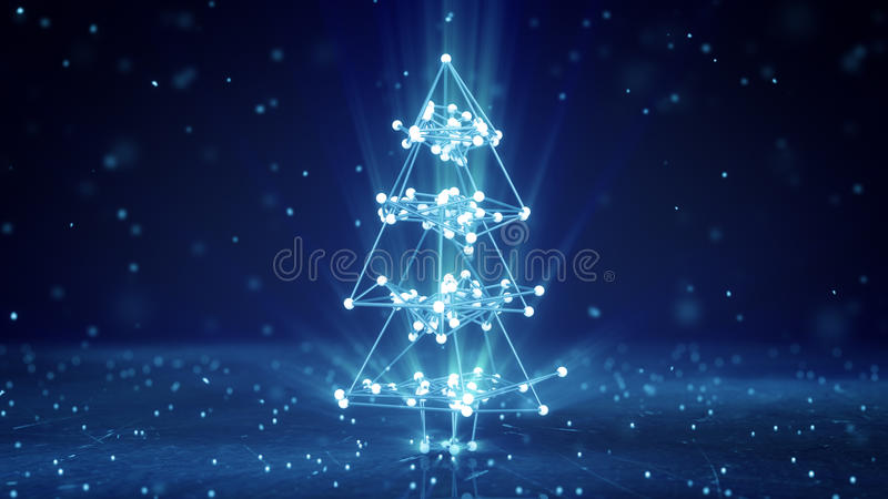 Glowing wireframe christmas tree shape vector illustration