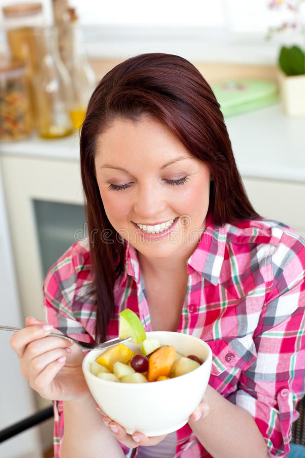 Download Glowing Woman Eating A Healthy Salad Stock Image - Image: 15647639
