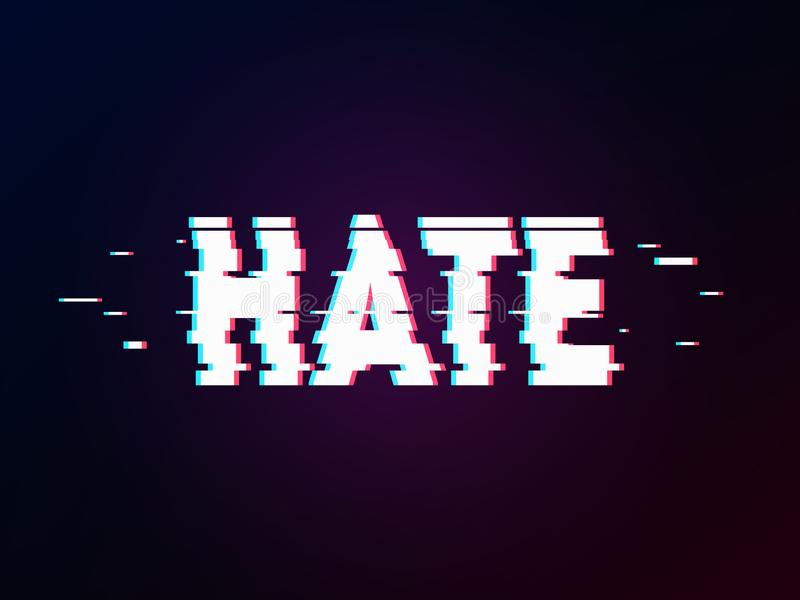 Glowing word hate with glitch effect on dark gradient. Background in TV error style. Distorted letters, typography, bug or error for design concepts stock illustration