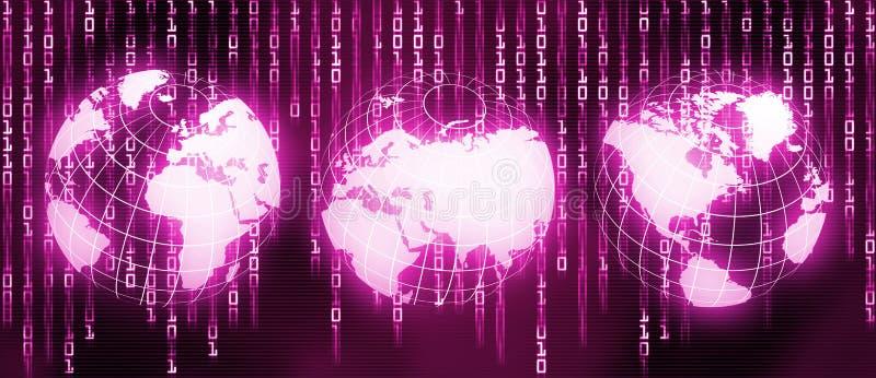 Glowing World map. Technology background stock illustration