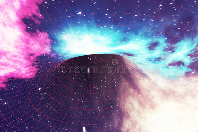Glowing wormhole in space, interstellar warp, traveling trough space and time. 3d rendering. Glowing wormhole in space, interstellar warp, traveling trough space royalty free illustration
