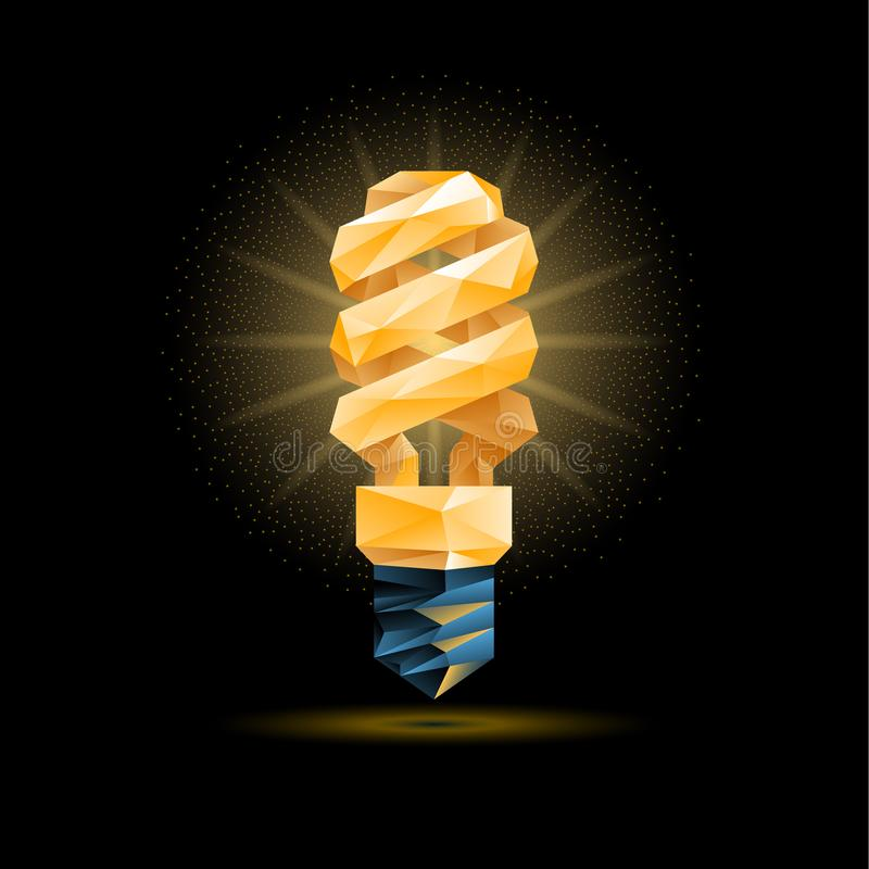 Glowing yellow 3d low poly fluorescent light bulb model. Vector polygonal bulb illustration on a black background. stock illustration