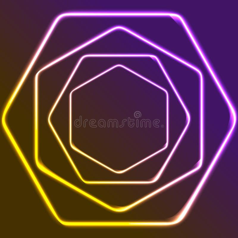 Glowing yellow and purple neon hexagons shiny design vector illustration