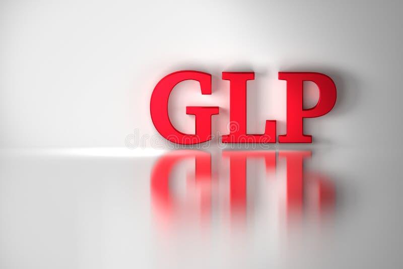 GLP rode glanzende die brieven de witte oppervlakte worden overdacht stock afbeeldingen