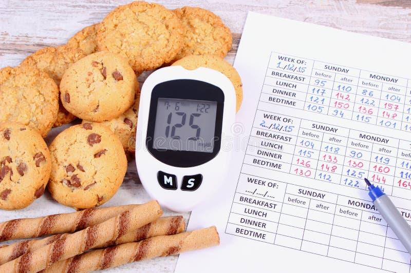 Glucometer,曲奇饼和医疗形式,糖尿病,吃甜点的减少堆  免版税库存照片