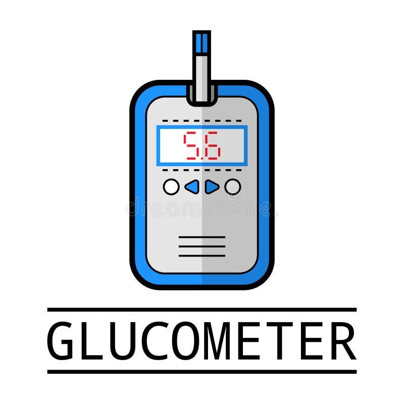 Glucometer provremsa Etikett plan symbol, medicinsk utrustning Sockersjuka vektor illustrationer