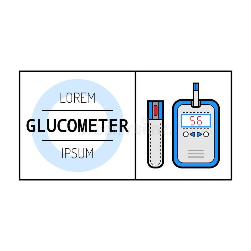 Glucometer, teststrook Etiket, vlak pictogram, medische apparatuur diabetes stock illustratie