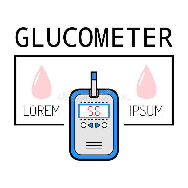 Glucometer, teststrook Etiket, vlak pictogram, medische apparatuur diabetes vector illustratie