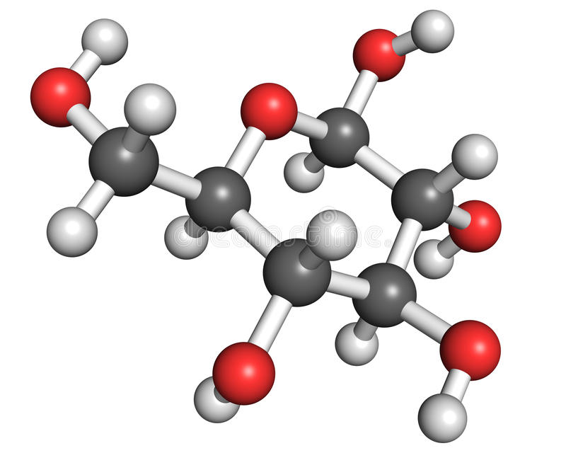 Glucose molecule. Ball and stick model of glucopyranose, the most common form of glucose in aqueous solution royalty free illustration