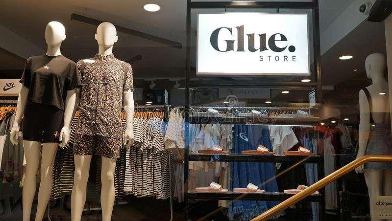 Glue fashion and clothing outlet store entrance. stock photography