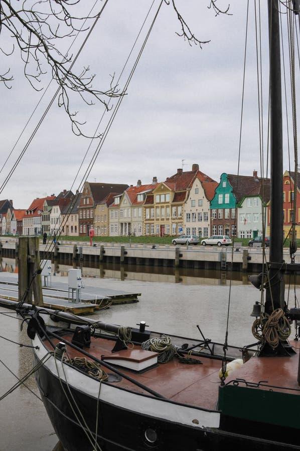 Glueckstadt germnay, puerto histórico viejo con los buques viejos foto de archivo libre de regalías