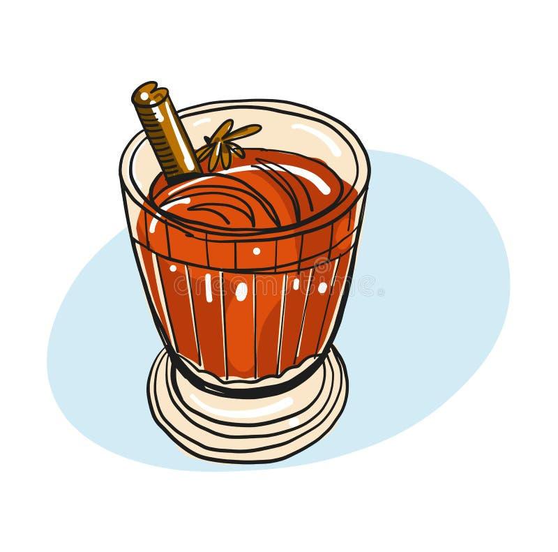 Gluhwein również zwrócić corel ilustracji wektora Wakacje koktajl Rozmyślać wino pikantność Szkło napój pojedynczy białe tło ilustracja wektor