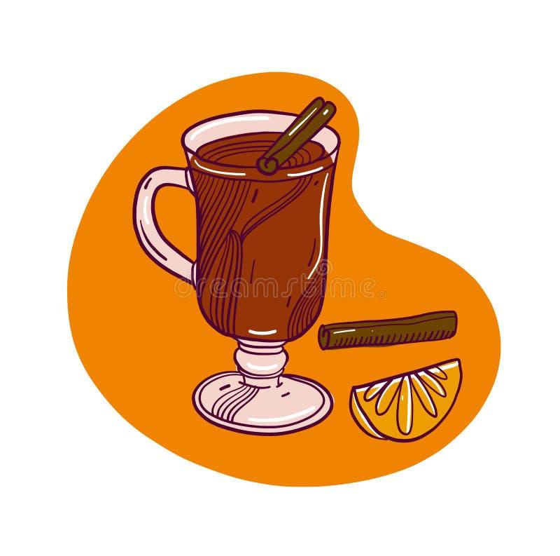 Gluhwein również zwrócić corel ilustracji wektora Wakacje koktajl Rozmyślać wino pikantność Szkło napój pojedynczy białe tło ilustracji