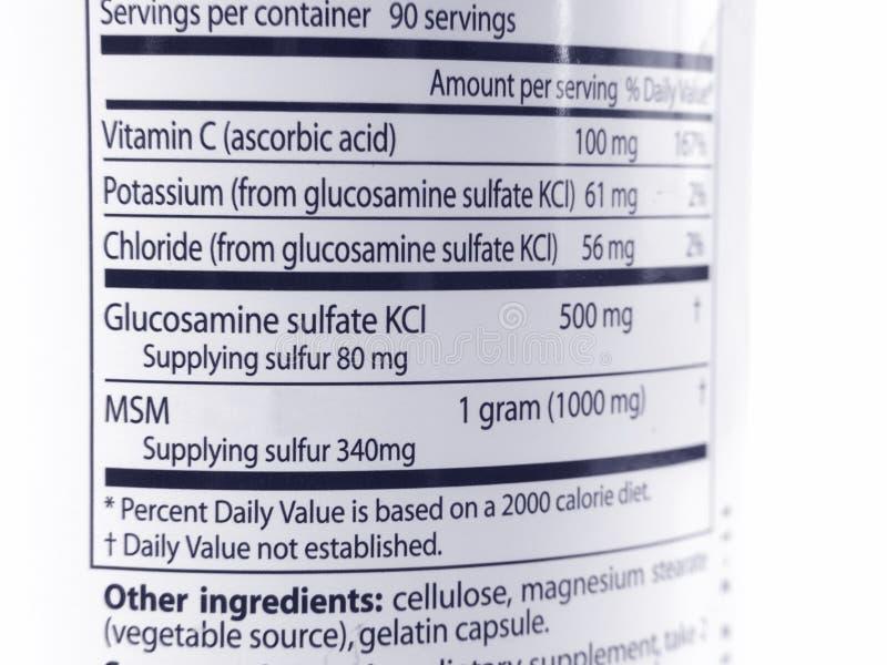 Glukosamin u. MSM Kennzeichnung stockfotos
