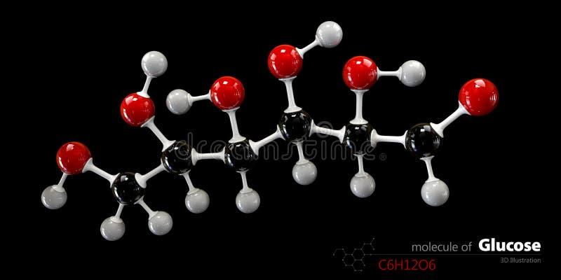 Glukosmolekyl-, boll- och pinnemodell Glucopyranose stock illustrationer