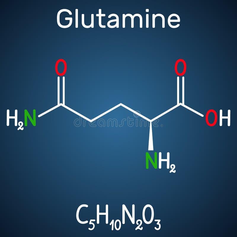 Glutamina Gln, molécula del aminoácido de Q Fórmula química estructural en el fondo azul marino libre illustration