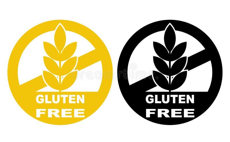 Gluten bezpłatnej etykietki wektorowe ikony ustawiać Żadny pszeniczny symboli/lów szablonów d royalty ilustracja