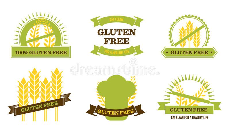 Gluten Bezpłatny - odznaki ilustracji