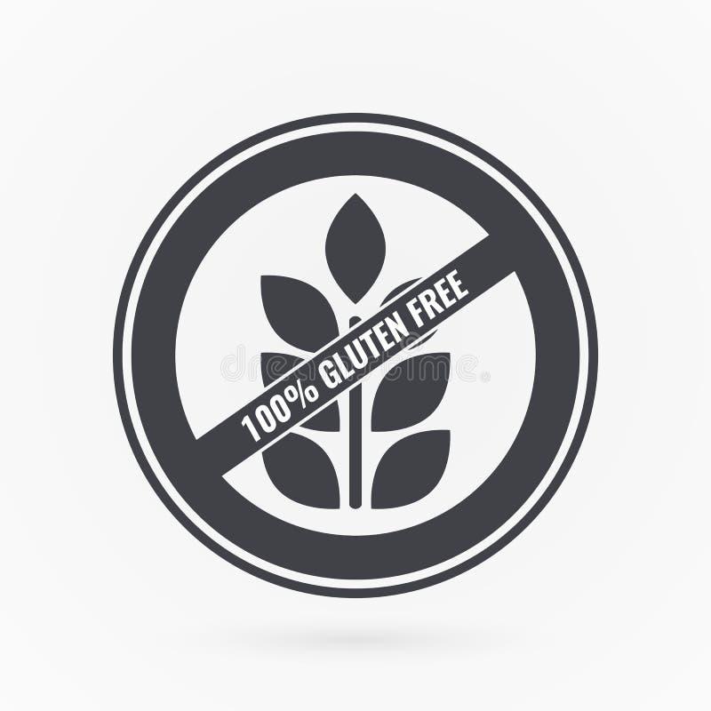 gluten bezp?atna etykietka Karmowa logo ikona Wektorowy popielatego bielu majcheru znak odizolowywający Ilustracyjny symbol dla p ilustracji