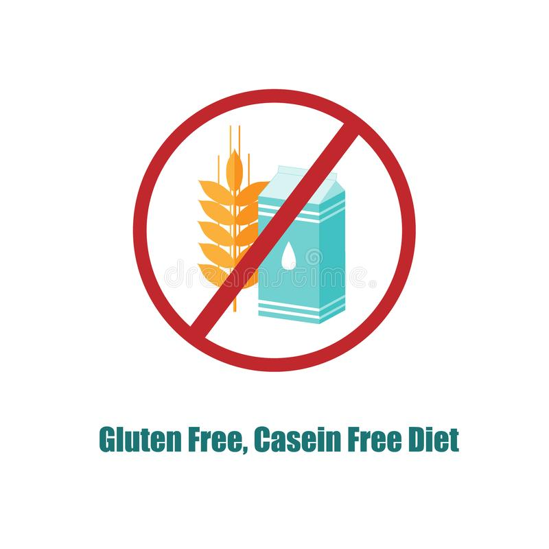 Gluten And Casein Free Icon Crosed Sign With Pack Of Milk And Wheat