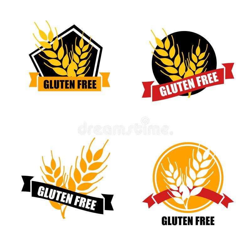 Gluten etykietki bezpłatny wektor Nietolerancyjność okrąg odznaki odizolowywającej na w royalty ilustracja
