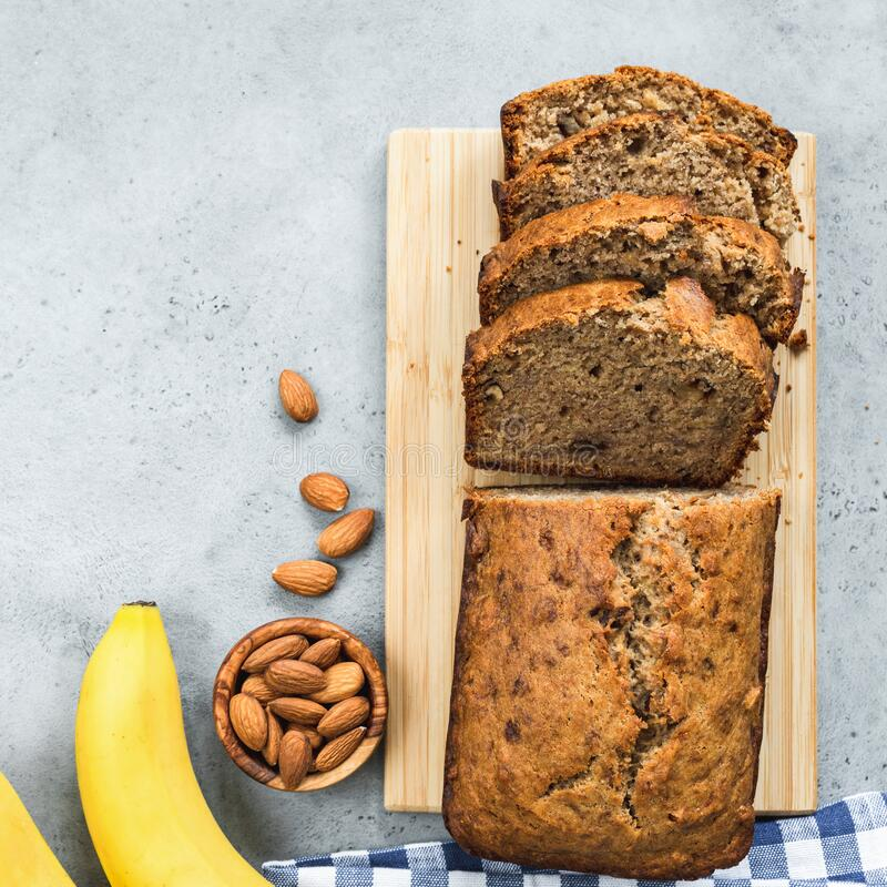 Gluten free banana bread loaf royalty free stock images