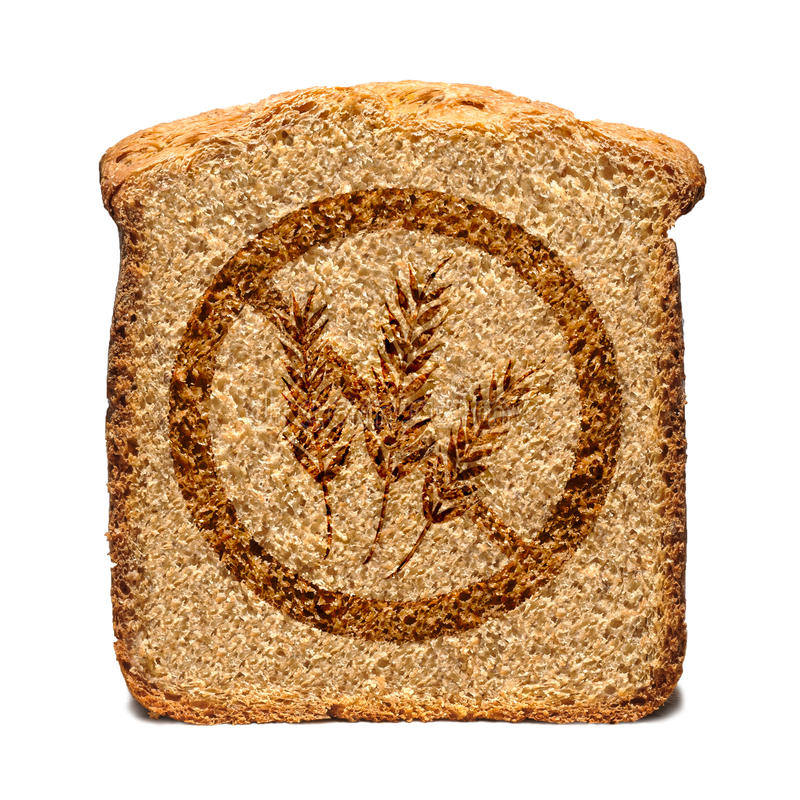 Gluten Free Bread. Bread slice marked with gluten free stamp isolated royalty free illustration