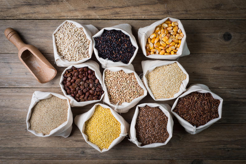 Gluten free cereals and seeds. Cereali senza glutine gluten free seeds with bailer stock photo