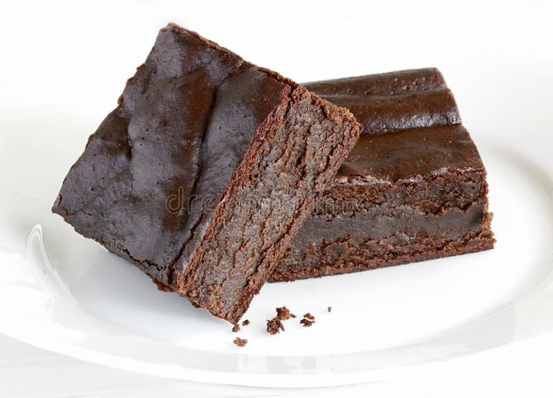 Gluten free chocolate brownie squares stock images