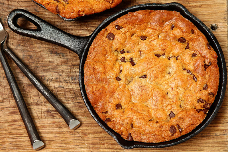 Gluten Free Chocolate Chip Skillet Cookie. On table stock images