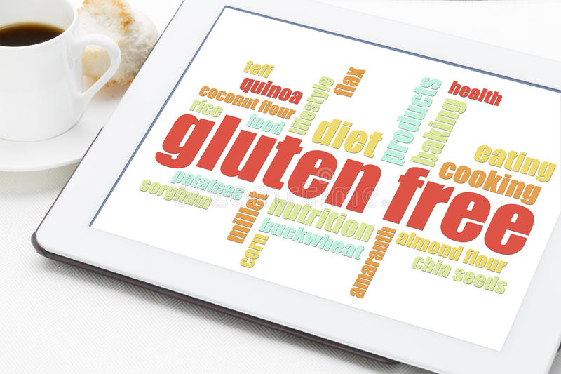 Gluten free cooking word cloud royalty free stock image