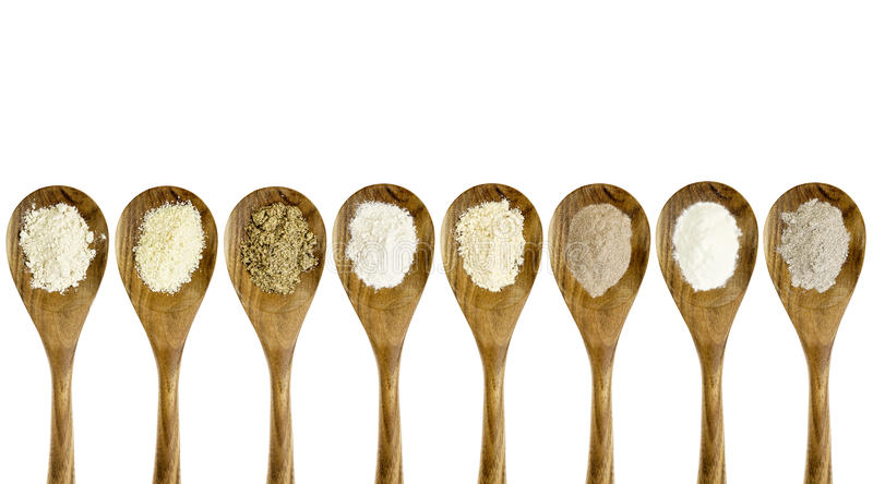 Gluten free flour spoon set stock images