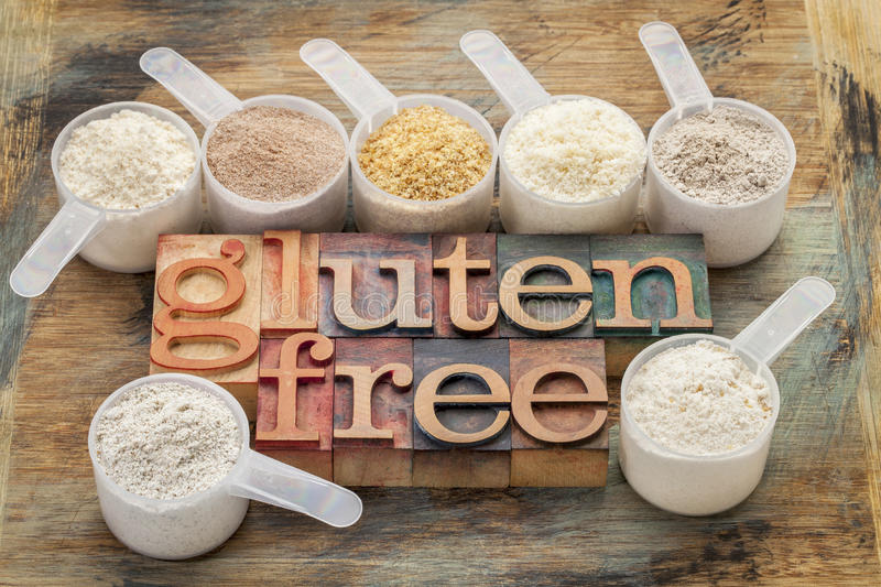 Gluten free flours and typography royalty free stock image