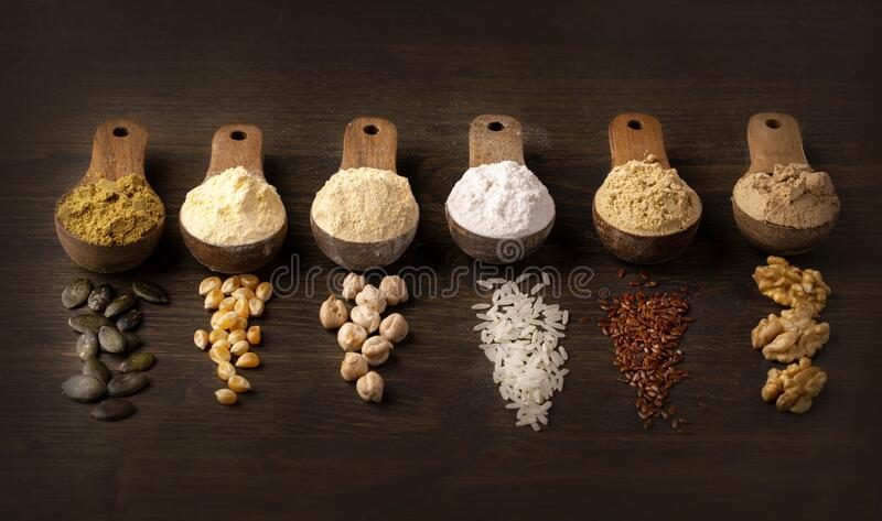 Gluten free flours royalty free stock photo