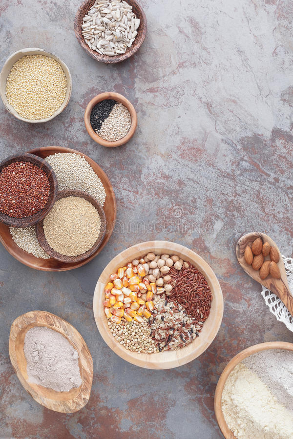 Gluten free grains and flours stock images