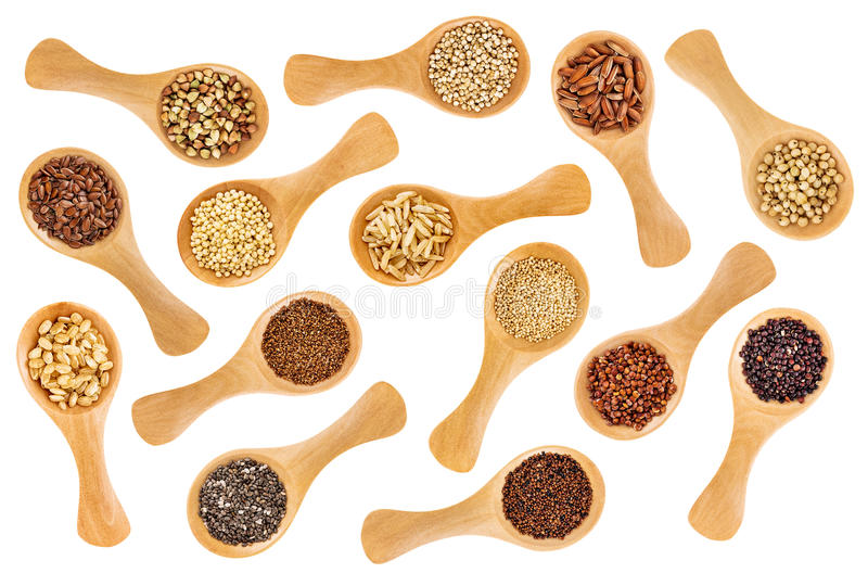 Gluten free grains and seeds - spoon abstract stock photo
