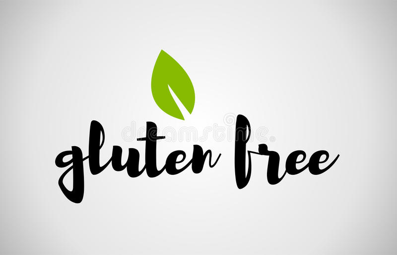 gluten free green leaf handwritten text white background vector illustration