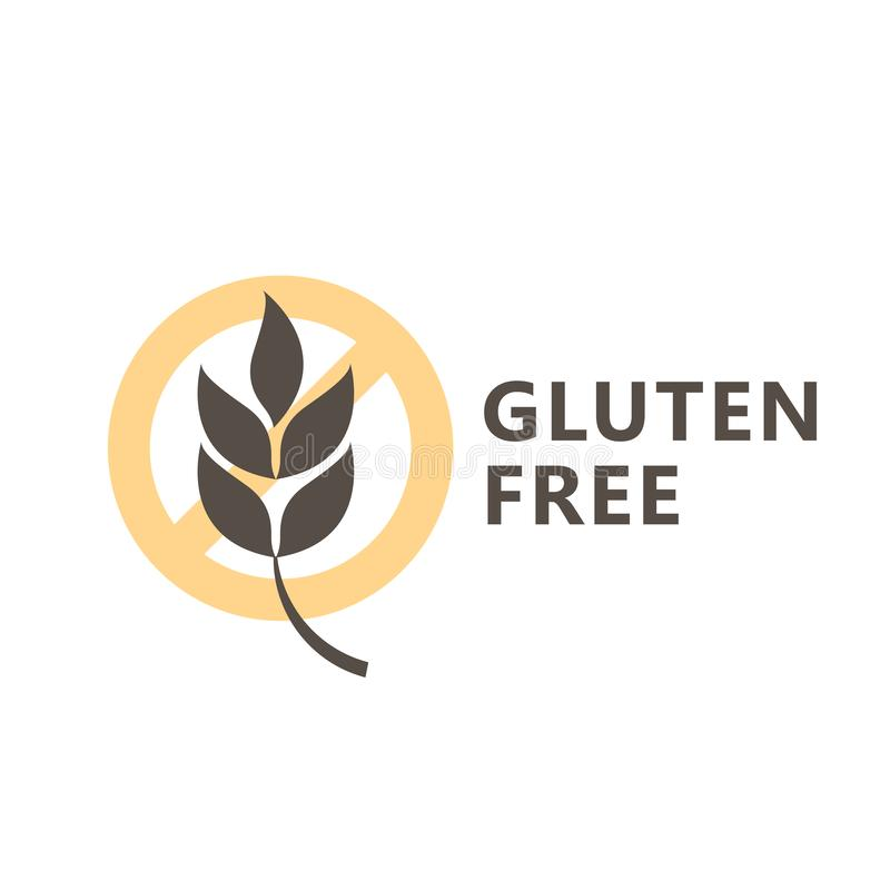 Gluten free icon for label for products - ear of wheat vector illustration