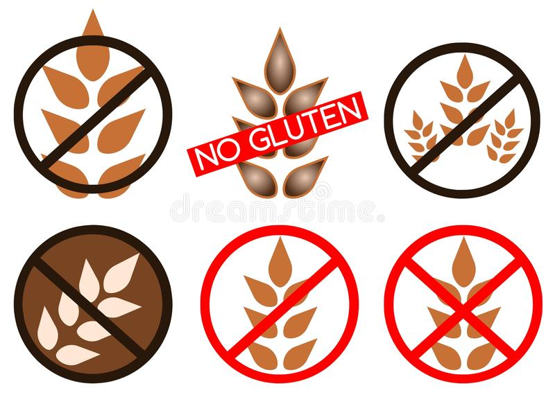 Gluten free icons royalty free illustration