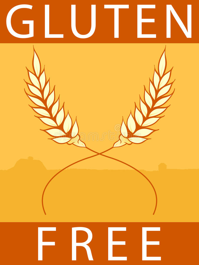 Gluten Free Label. Illustration of a rectangular label / sticker advertising gluten free products royalty free illustration