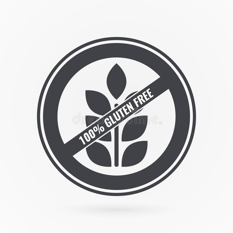 Gluten free label. Food logo icon. Vector grey white sticker sign isolated. Illustration symbol for product, healthy eating stock illustration