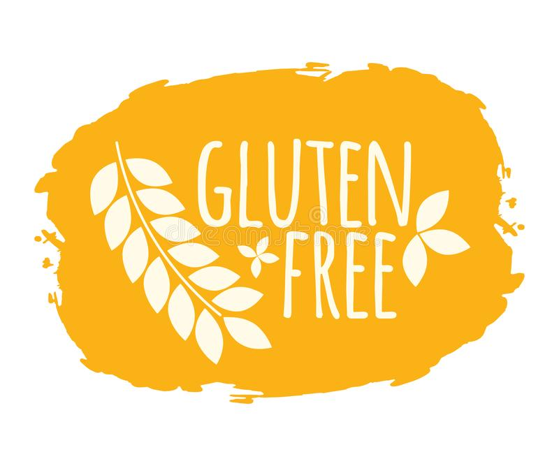 Gluten Free label. Healthy and Organic Food. Font with Brush. Food Intolerance Symbols and Badges. Vector illustration icon.  stock illustration