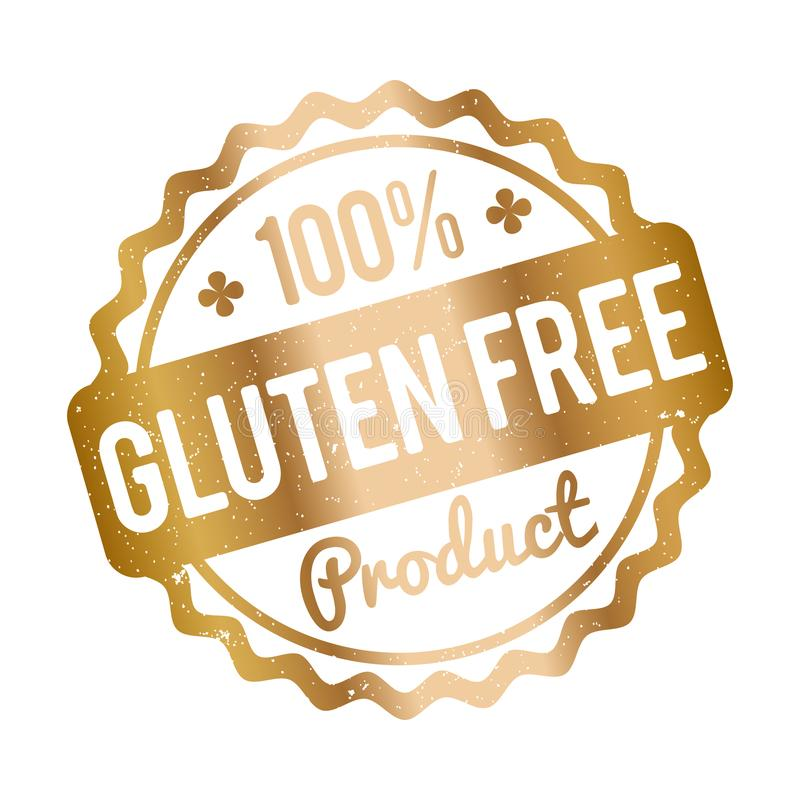 Gluten FREE Product rubber stamp gold on a white background. vector illustration