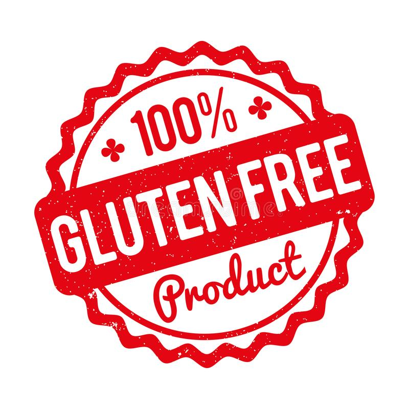 Gluten FREE Product rubber stamp red on a white background. royalty free illustration