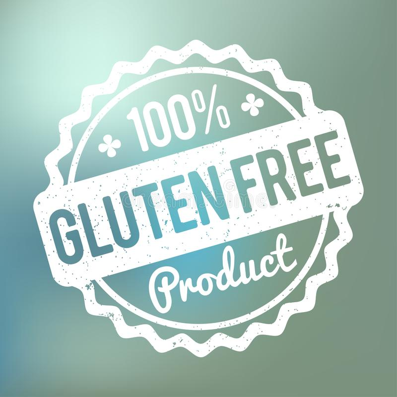 Gluten FREE Product rubber stamp white on a blue bokeh background. royalty free illustration