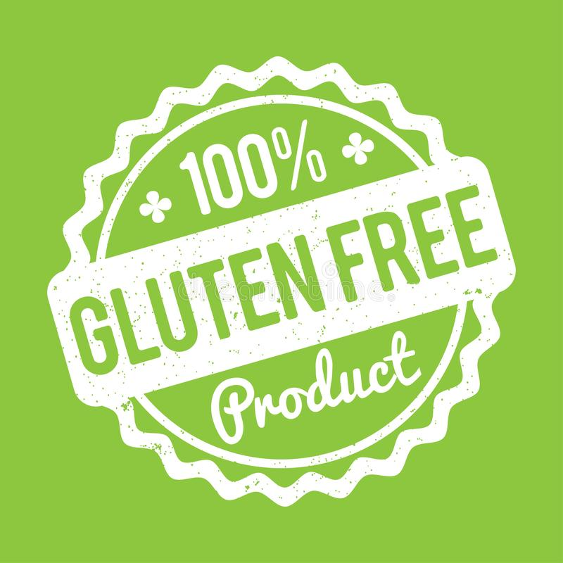 Gluten FREE Product rubber stamp white on a green background. royalty free illustration