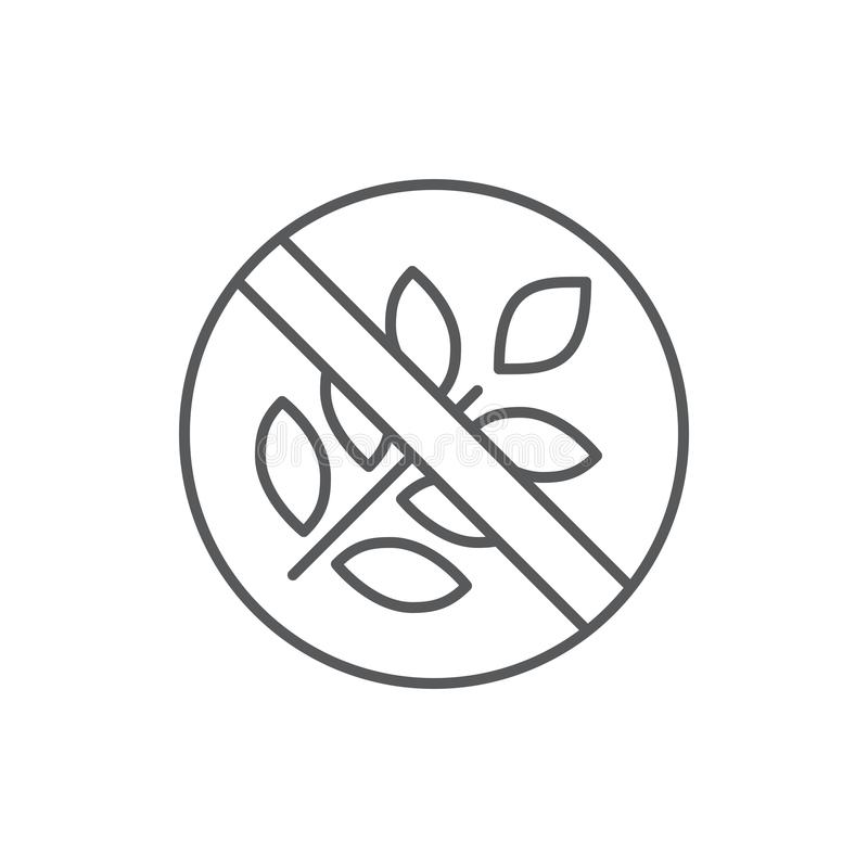 Gluten free prouduct diet editable symbol - pixel perfect icon with crossed ear of wheat isolated on white background. Gluten free prouduct diet editable symbol vector illustration