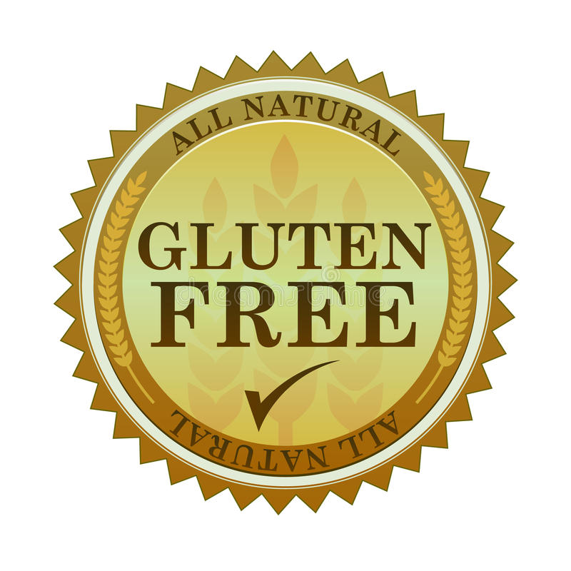 Gluten Free Seal. Illustration of an all natural gluten free seal and text