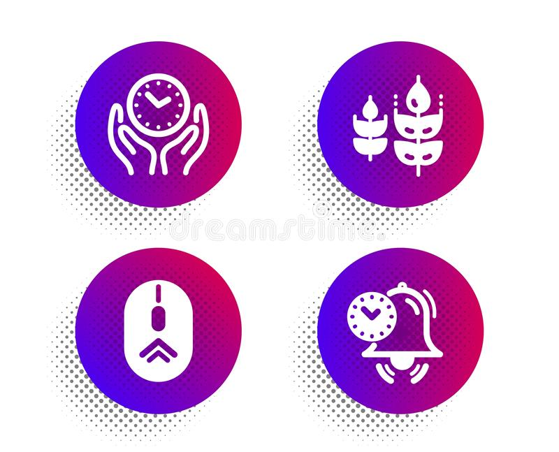 Gluten free, Swipe up and Safe time icons set. Time management sign. Vector. Gluten free, Swipe up and Safe time icons simple set. Halftone dots button. Time royalty free illustration